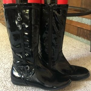 Nordstrom black shiny zip up boots size 5